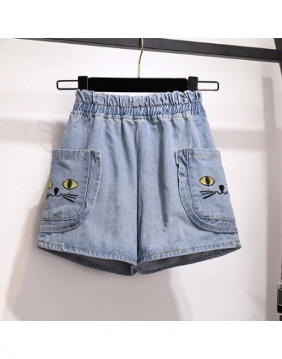 S-5XL Plus Size Women Denim Shorts Summer 2019 Cute Cat Embroidery Elastic Waist Loose Casual Wide Leg Shorts Jeans with Poc...