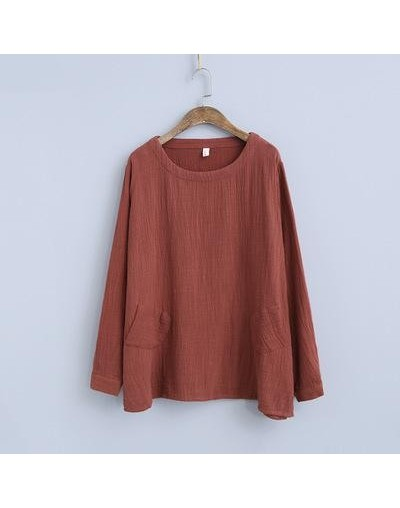 Spring Women Tops 2019 New Simple Loose Comfortable Solid Color Full Sleeved O-neck Pockets Shirt Casual Cotton Blouse - Red...