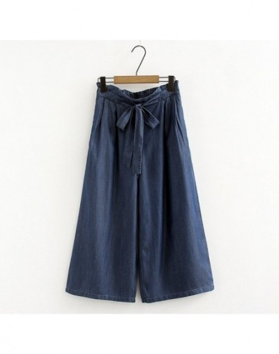 Woman wide leg jean pants high waist tie drawstring bow trouser office lady2018 spring summer plus size M-7XL loose casual p...