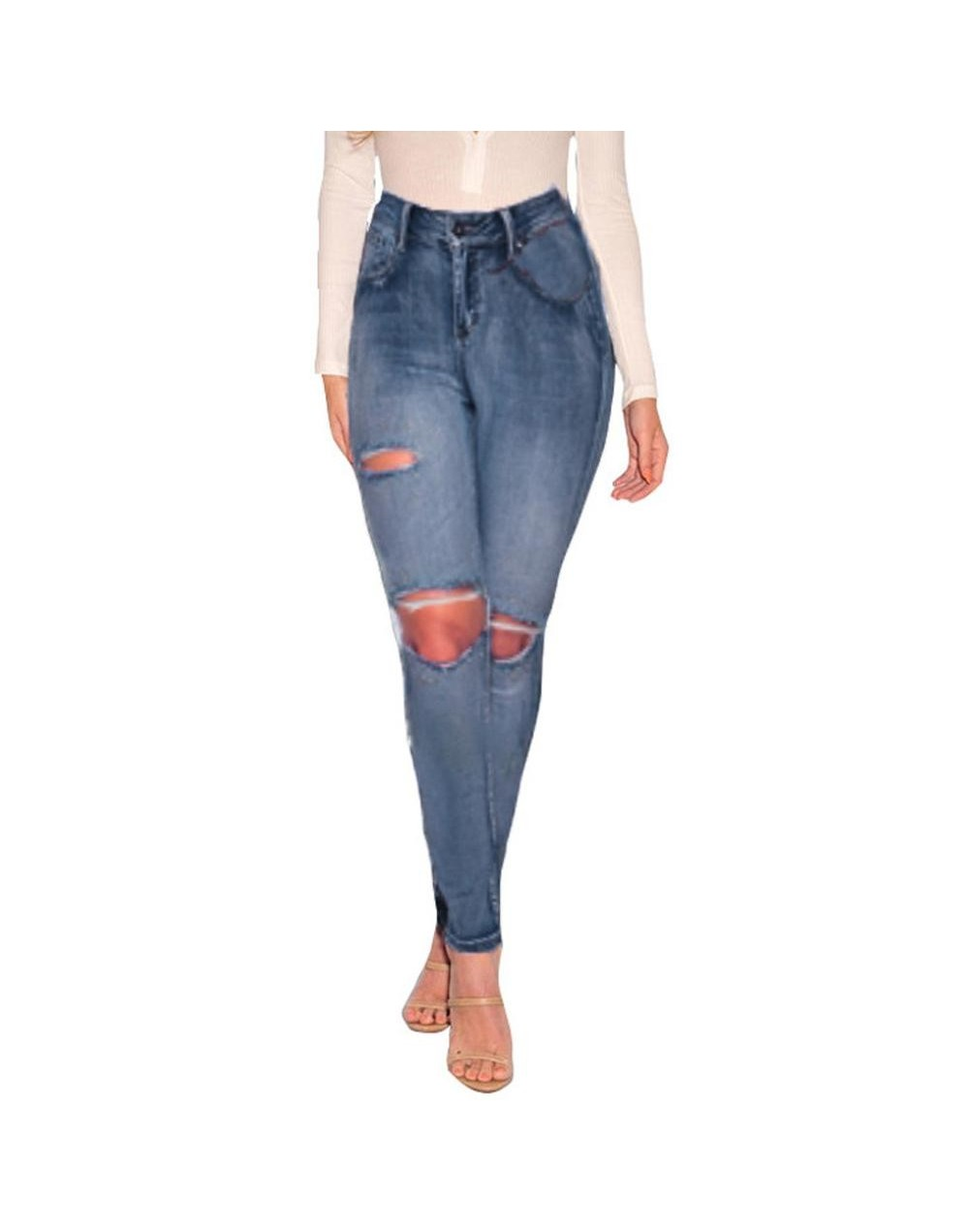 Jeans Women Denim Pants High Waist Long Pants Pocket Denim Slim Sexy Jeans Hole Stretch Length Jeans Vaqueros Mujer 4B07 - B...