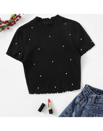 Lettuce Trim Pearls Beaded Rib-Knit T Shirt Women Solid Stand Collar Crop Tshirt Elegant Short Sleeve Summer Ladies Tops - B...