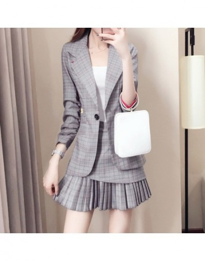 Small suit set skirt suit women's style Korean fashion ladies temperament spring and autumn suit + pleated skirt two-piece s...