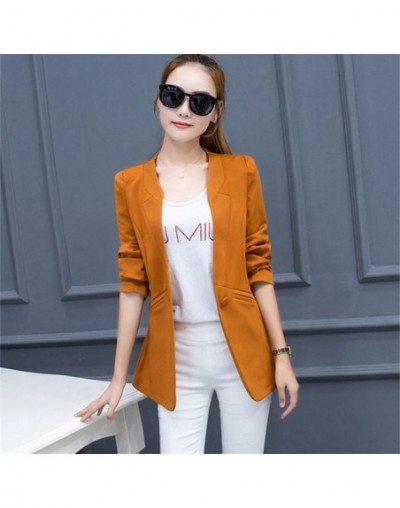 Office Lady Solid Women Clothing Single Button Notched Collar Blazer 2019 Spring Autumn New S-3XL Fashion Coat 11215 - camel...
