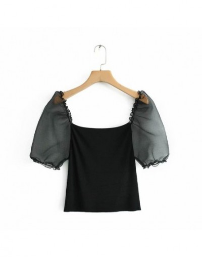 women fashion puff sleeve patchwork knitted blouse shirt women streetwear slimming blusas chic retro black tops LS3805 - as ...