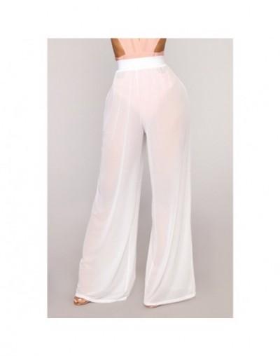 New Fashion Women High Waist Mesh Wide Leg Pants Beach Wear Bikini Cover Up Swimwear Transparent Long Pants Trousers - White...