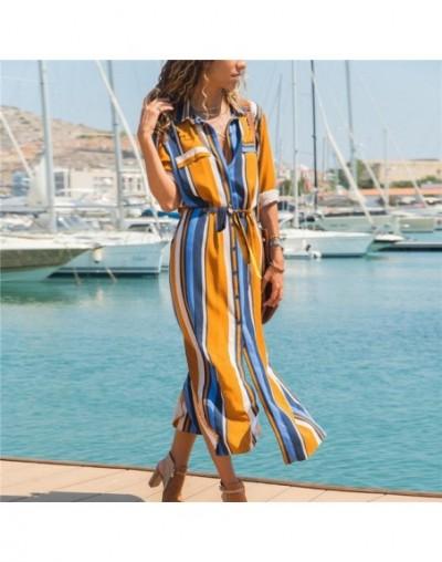 Summer Beach Chiffon Long Dress Women Striped Shirt Dress 2019 Casual A-Line Long Sleeve Midi Holiday Party Dresses Vestidos...