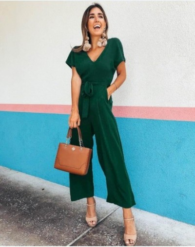 Lady 2019 Summer New V neck Jumpsuit Women Solid Short Sleeve Fashion Playsuits Casual Jumpsuits - Green - 4C4119348167-2
