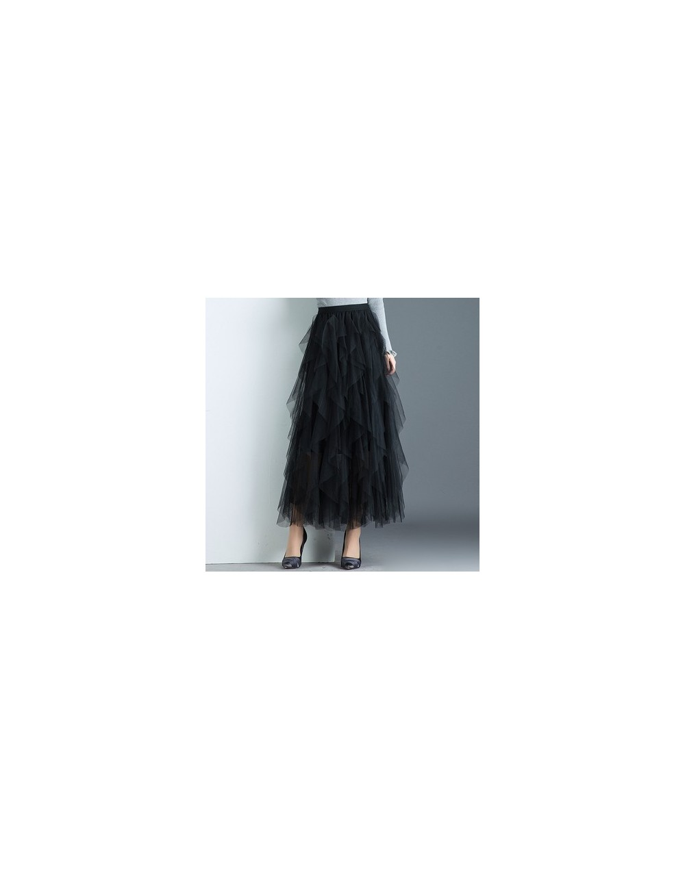 Women irregular Tulle Skirts Fashion Elastic High Waist Mesh Tutu Skirt Pleated Long Skirts Midi Skirt Saias Faldas Jupe Fem...