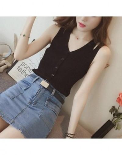 Women Sleeveless Cami Tank Top Knit Button Down Slim Fit Summer Top Shirt TC21 - Black - 5C111217735186-1