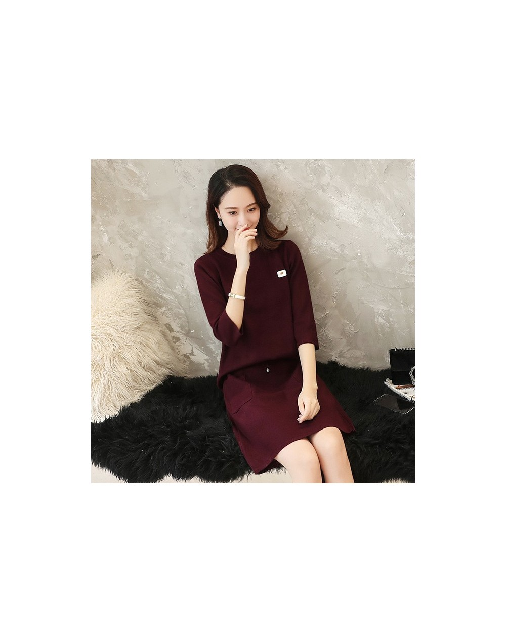 Sweaters Women's Style Spring 2019 New Slim Knitted Dress Dress Leisure Two-piece Long Sleeve Button Suit Skirt - see chart ...
