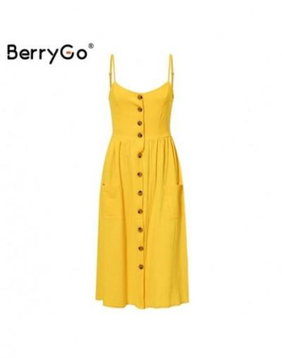 Elegant buttons women dress Spaghetti strap dresses pockets polka dots dresses Summer casual female plus size vestidos - Yel...