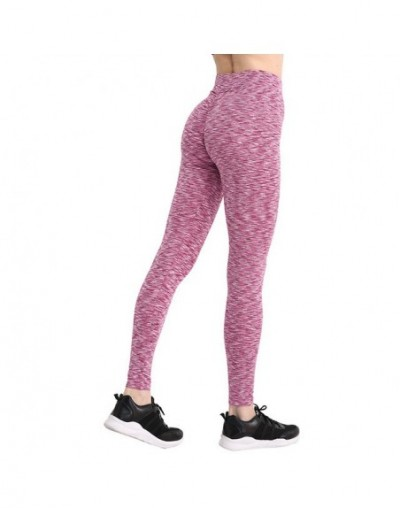 Solid High Waist Push Up Leggings Women Sexy Workout Legging Femme Highly Elastic Classic Trousers Female 13 Color - Stripe-...