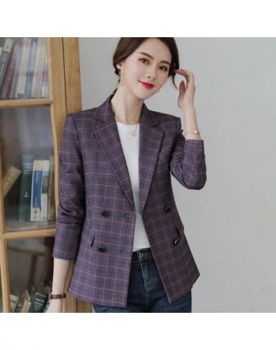 Fashion women blazer 2019 New long sleeve Double Breasted gray purple plaid slim jacket office ladies casual coat - Purple p...