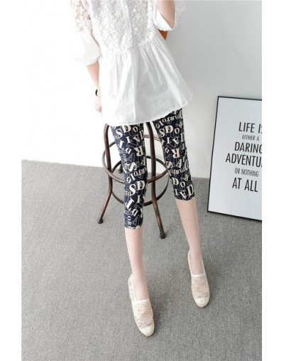 2019 girl printed flowers letter Camouflage pants summer short leggings slim fitted plaid capris - 11 - 483805331221-11