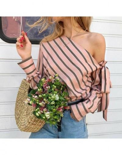 one off shoulder Women Shirts Blouse Striped Long Sleeve Irregular Work Office Blouse Shirt Camisas Mujer - Pink - 4L3089547...