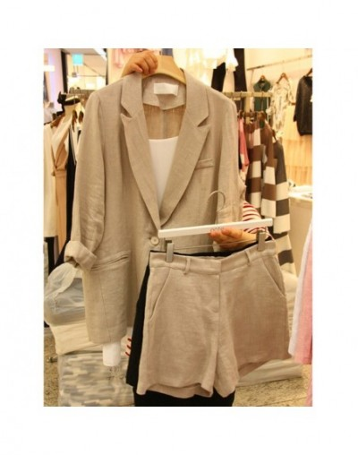 style ladies fashion retro high-quality ladies long-sleeved Slim woolen jacket high-waisted shorts suit two-piece ser - 2 - ...