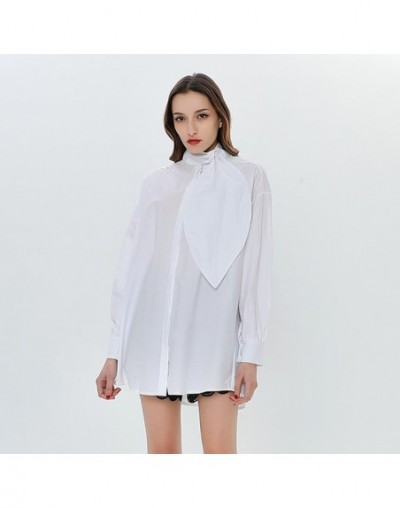 Turtleneck Bowknot Women's Shirt Long Sleeve Blouses Casual Top Female White Shirts Big Sizes Casual Clothes Korean - White ...