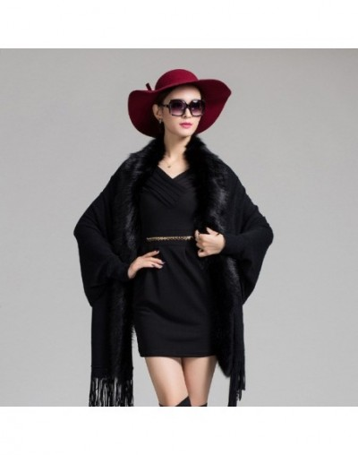 New Spring Women Fake Fur Tassels Cashmere Cardigan Poncho Fashion Purple Bat SleeveCape Shawl Coat Female - black - 4M39408...