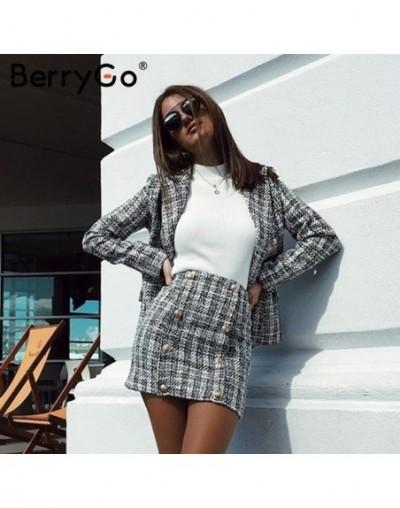 Two-piece plaid tweed women blazer suit Casual streetwear suits female blazer sets Chic office ladies blazer skirt suits - t...