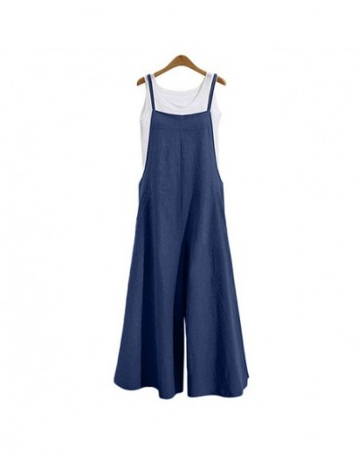 2019 Korean Fashion Dungarees Women Jumpsuit Cotton Wide Leg Pants Spaghetti Strap Overalls Sleeveless Strappy Long Rompers ...
