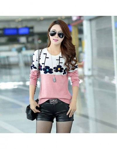New Fashion Loose Style Women Spring Sweater Knitted Long Sleeve Outerwear Flower sweater Pullover female tops - Green - 4H3...