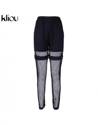 women fashion long pants elastic high waist cargo pants half mesh material patchwork 2019 female casual street trousers - Bl...