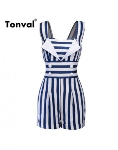 Striped Vintage Pin Up Jumpsuit Elegant Short Romper Women Button Front Retro Playsuit 1950s Summer Black Overalls - Blue - ...