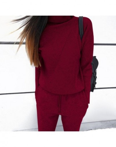 Woman Sweater Suits Casual Knit Tracksuit Turtleneck Pullovers+pants Two Piece Sets Female Outfits - Khaki - 4M3056255198-2
