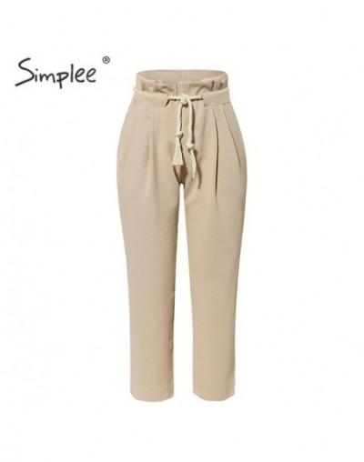 Casual khaki women harem pants Lace up string pleated pocket pants capris Streetwear solid plus size pencil work pants - Kha...