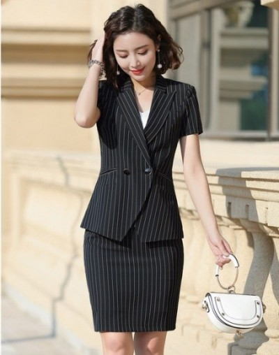 Formal Women Business Suits With Tops and Skirt Summer Short Sleeve Ladies Office OL Styles Blazers Sets Elegant Striped - B...