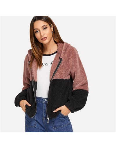 Casual Thicken Two Tone Hooded Teddy Coat Long Sleeve Hoodies 2018 Autumn Winter Streetwear Women Coat And Outerwear - Multi...