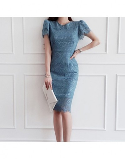 Women 2019 Summer Elegant Short Sleeve Dress OL Hollow Lace Bottoming Dresses Special Occasion Party Sheath Vestidos - Blue ...