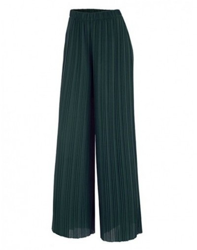 2019 New Spring and Autumn Solid Color Womens Pleated Wide Leg Palazzo Pants with Elastic Band of 8 Color Casual Pants - Gre...