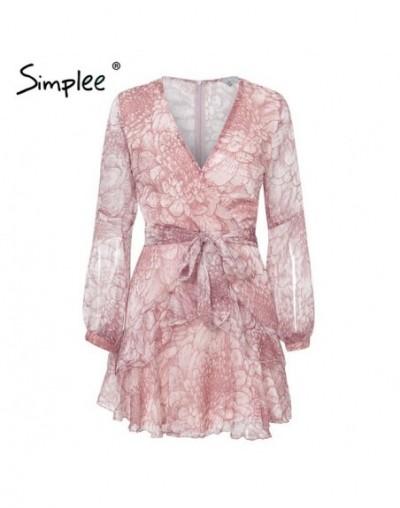 Vintage ruffle long sleeve dresses Women print elegant chiffon sashes summer female dress Sexy party short vestidos 2019 - P...