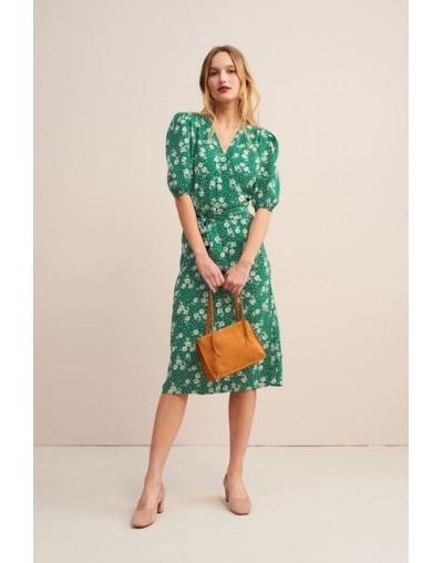 Women Dress 2019 New Vintage Floral printing Waist Wrap tea midi dress Long One-Piece Dress - Green - 454117263217-1