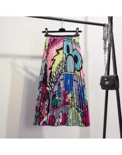 2019 New Fashion Printing Cartoon High Waisted Pleated Skirt Summer Midi Skirts Womens Elastic Waist Long Skirts For Women R...