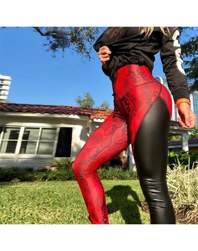 New Snake Skin Print Red Leggings Patchwork PU Leather Fitness Leggings Women High Waist Stretchy Skinny Push Up Leggings - ...