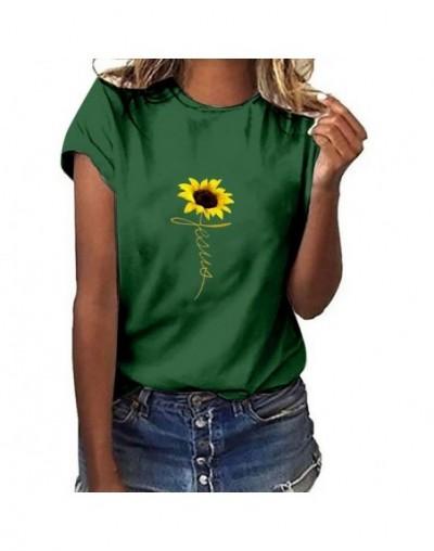Women Clothes 2019 T Shirt Plus Size Sunflower Print Short Sleeved T-shirt Tops Summer Cotton Streetwear c0513 - Green - 4B4...
