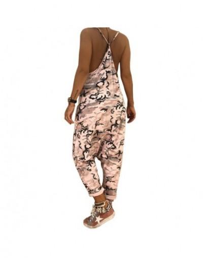 Plus Size Camouflage Stylish Women Strap Sleeveless Straight Pocket Jumpsuit Ladies Cotton Linen Overall Streetwear harmTrou...