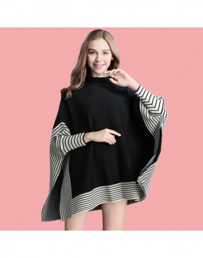 Women Ponchos And Capes Sweaters Spring Casual Pullover Shawl Female Black Batwing Sleeve Stripes Loose Poncho Cloak - black...