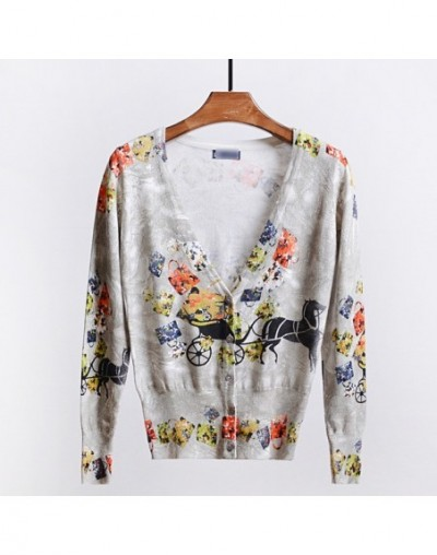 2018 New printed cardigan cfall and winter sweet sweaters women cart and bag sweater design new printed cardigan sweater - P...