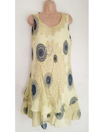 Bohemian Style New Soft Sleeveless Printing A-Line Dress For women Boho Loose Causal Dress Plus Size Beach Sundress - yellow...