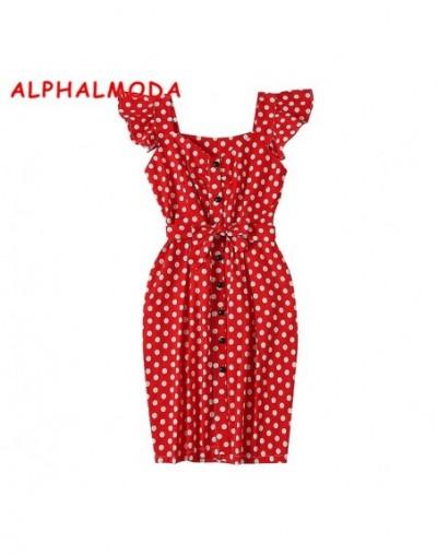 2018 New Polka Dot Shirt Pocket Dress Petal Sleeve Single Breasted Slim Sashes Women Fashion Summer Vestidos - Red - 4930148...
