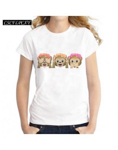 2017 Casual Tshirt Women T-shirt Kawaii Emoji Print Monkey Women T Shirt Short Sleeve Tee Shirt Femme Camisetas White Tops -...