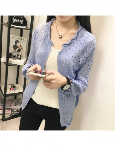 New Spring Autumn Hollow Out Cardigans Women Long Sleeve Kniited Sweaters Cardigans Female Black Red Green Gray - sleeved Bl...