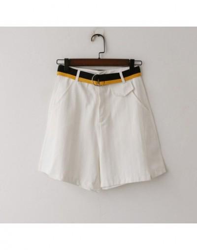 Shorts Women Vintage Solid High Waist Sashes Pockets Loose Boyfriends Jean Shorts Women Summer Korte Broek Dames C7915 - Whi...