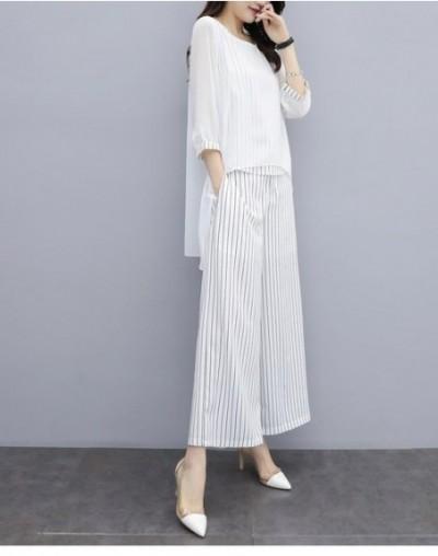 S-3xl Summer Chiffon 2 Two Piece Sets Outfits Women Plus Size Asymmetrical Blouses And Wide Leg Pants Suits Elegant Korean S...