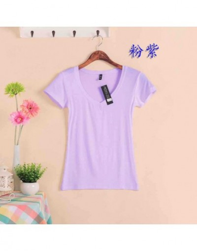2019 Hot Sale Stretch Summer New Women T Shirts Ms Solid Color Short Sleeve tshirt Women's Fashion Cotton V-neck T-shirt W00...