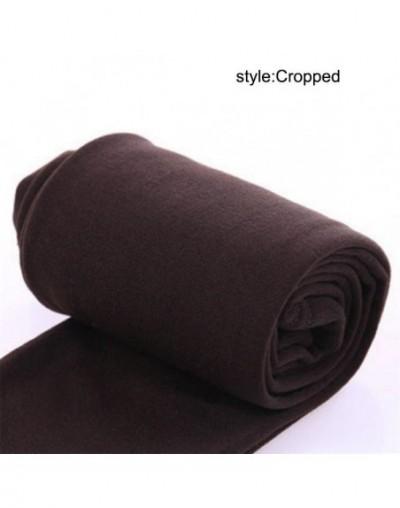 2019 New Women Heat Fleece Winter Stretchy Leggings Warm Fleece Lined Slim Thermal Pants LBY2018 - Coffee Cropped - 4E307870...