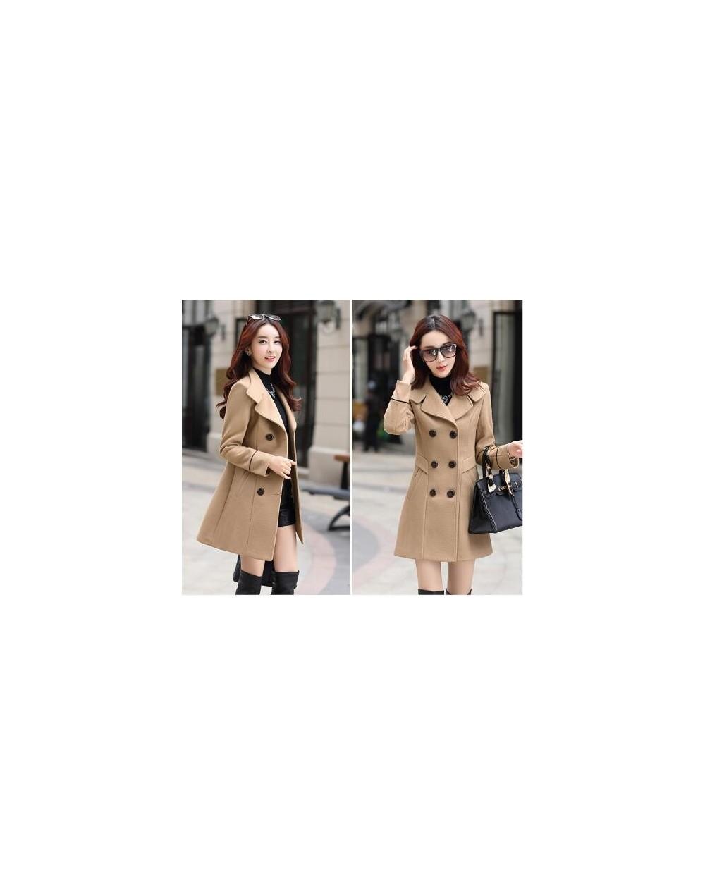 Autumn Winter Women Wool Coats Jackets Double Breasted Slim Outwear Coat Womens Bodycon Long Overcoat Tops Casaco Feminino -...